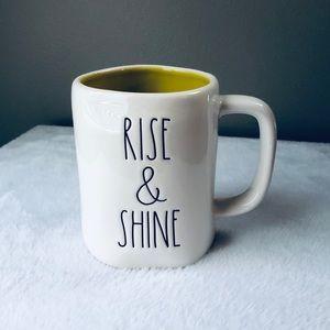 NEW!  Rae Dunn Rise & Shine mug yellow interior